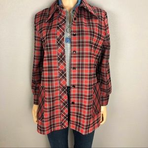 70's Vintage Plaid Shirt Jacket Button Down Red